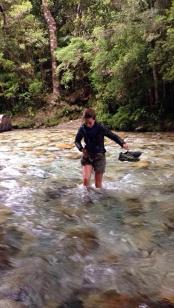 Chile, Cochamo, traversée de la rivière la Junta